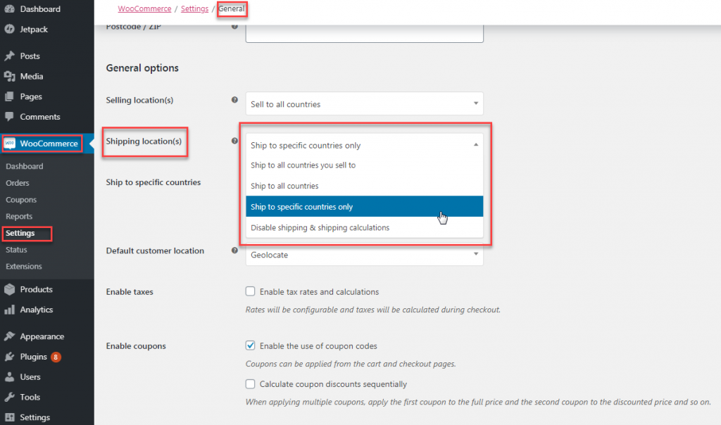 WooCommerce Shipping GEeneral Settings