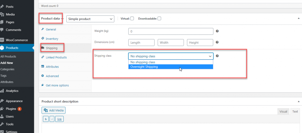 Add shipping class to woocommerce product