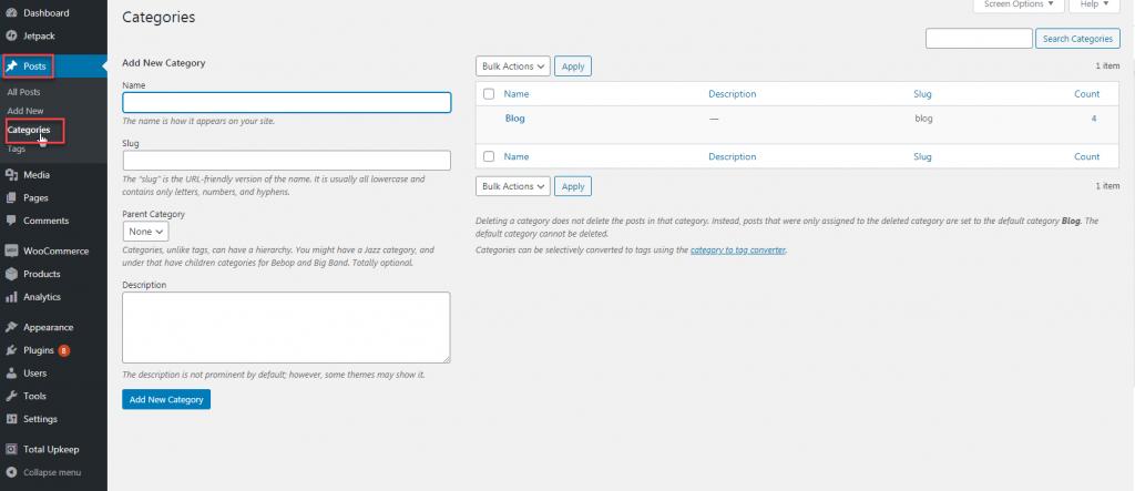 Adding WordPress category