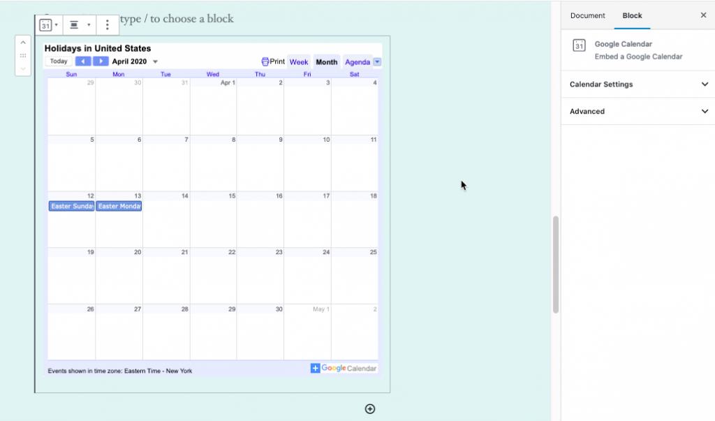 Example of an embedded Google Calendar