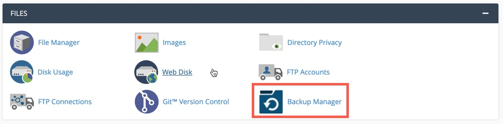Backup Manager icon in cPanel Files section