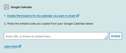 Example of Google Calendar block.  Click the link to see how to change a calendar's permissions.