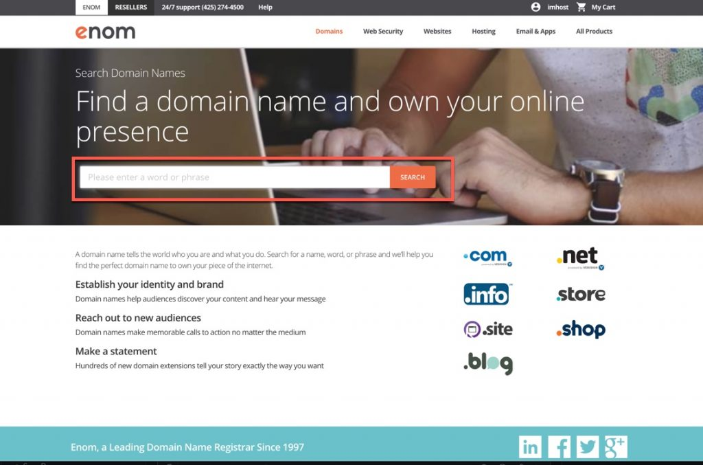 Search for the domain that you're registering
