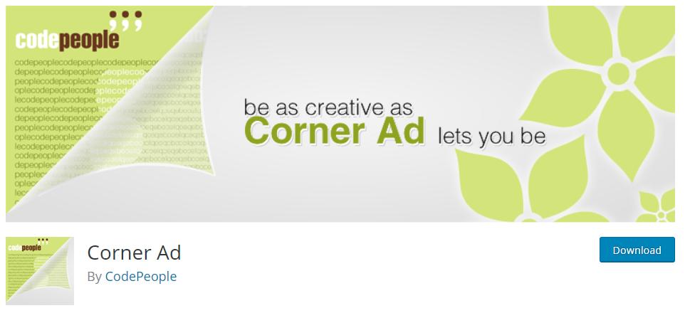 Corner ad plugin for WordPress