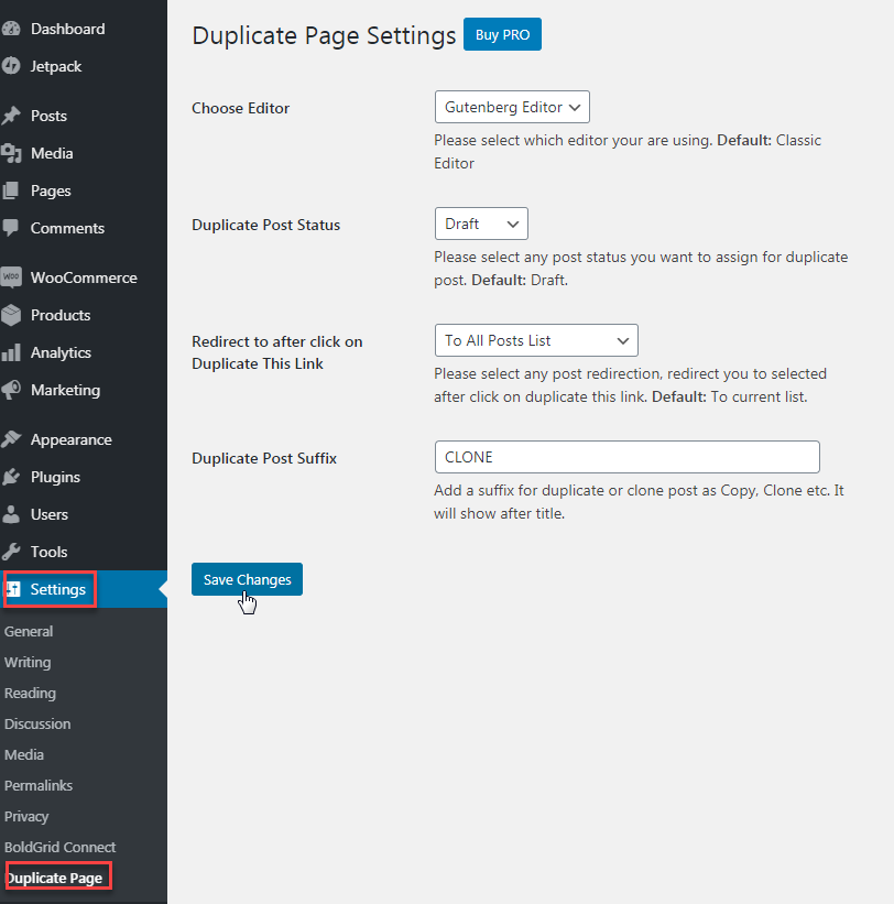 Duplicate page settings with free version