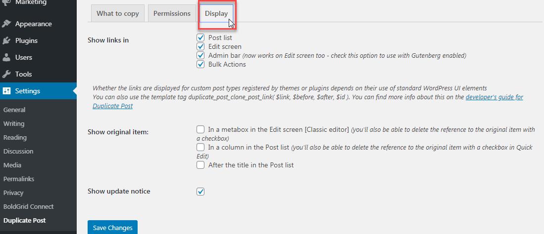 Display setting options
