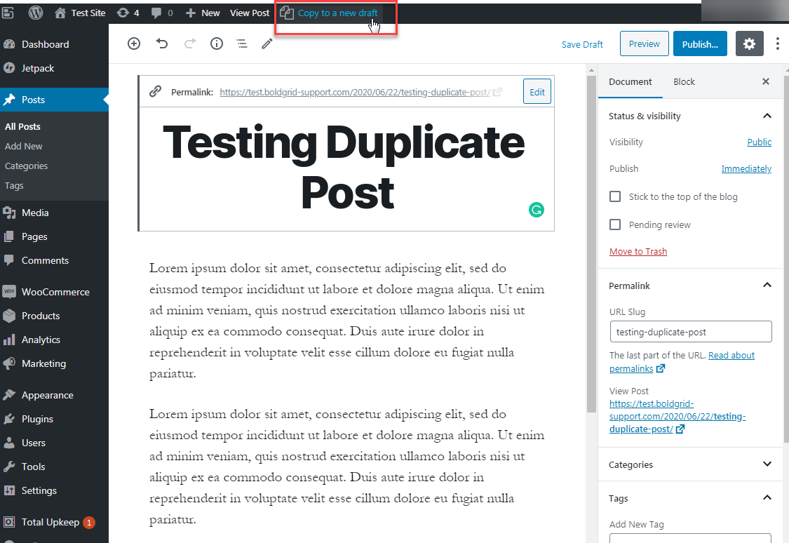 cloning content within the editor