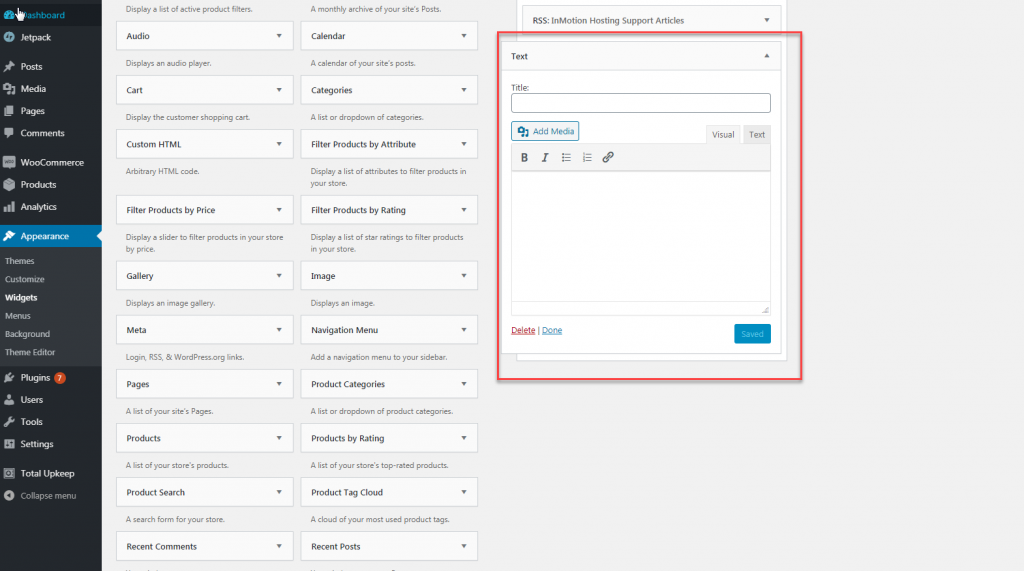 adding content to wordpress text widget