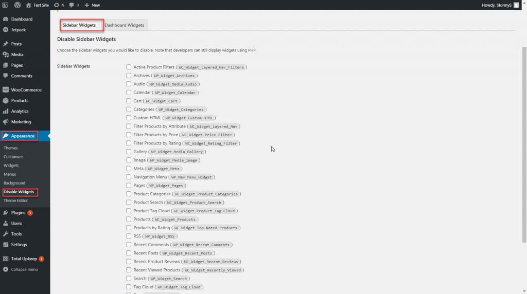 using wordpress disable widgets plugin