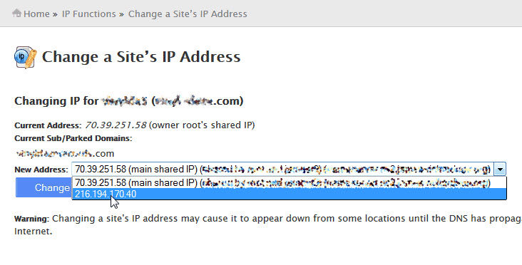 Change Site IP address in WHM