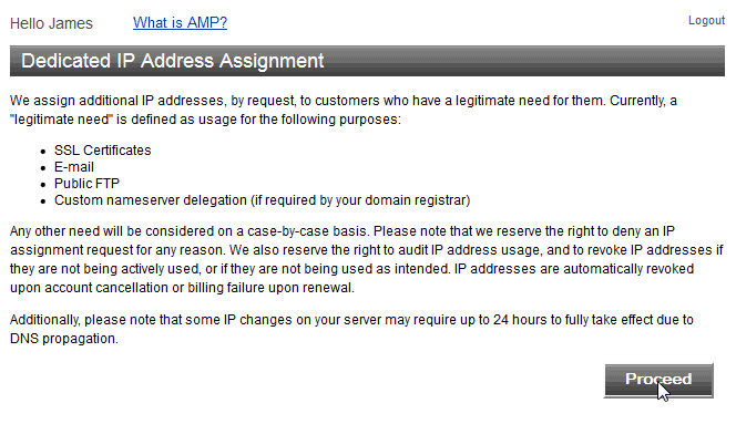 Example of the disclaimer for the dedicated IP address