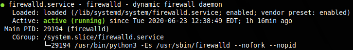 Firewalld.service active and enabled to start upon reboot