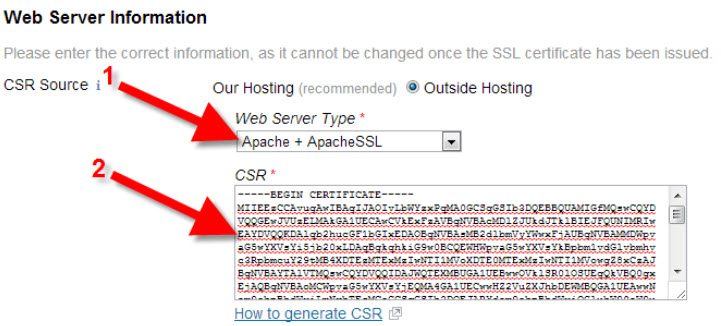 Select server type and paste in your CSR