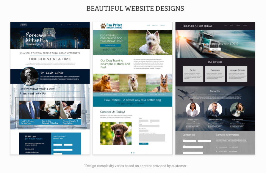 Examples of designs from the InMotion Web Design team!