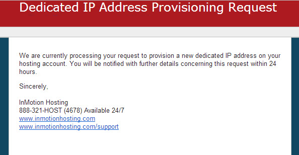 Email notification of the request for dedicated IP address
