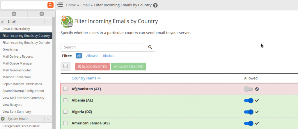 whm filter emails country