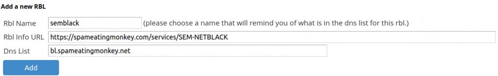 Add SEM Black Real-time Blackhole List (RBL) in WHM