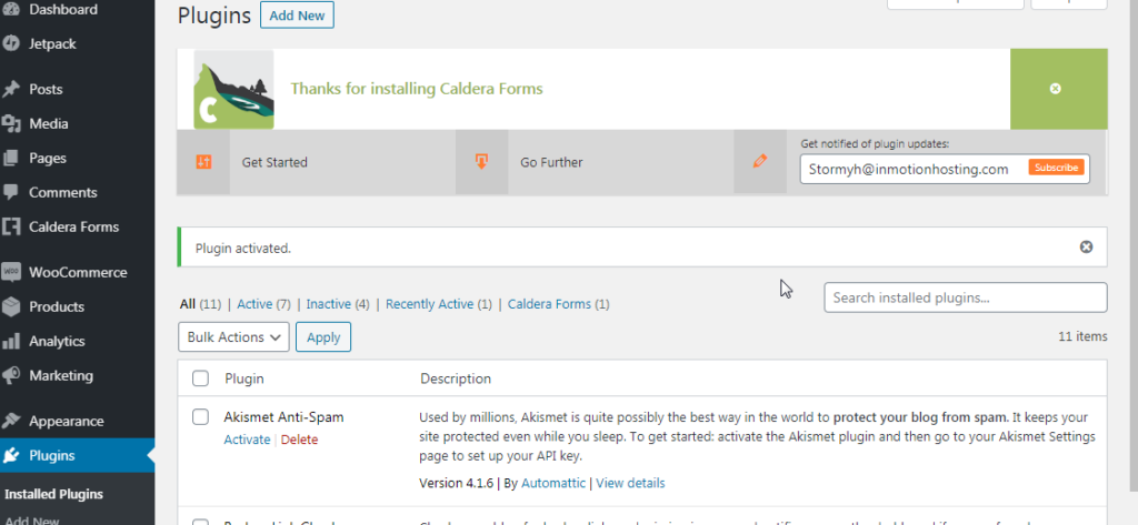 Caldera welcome from installed plugins screen