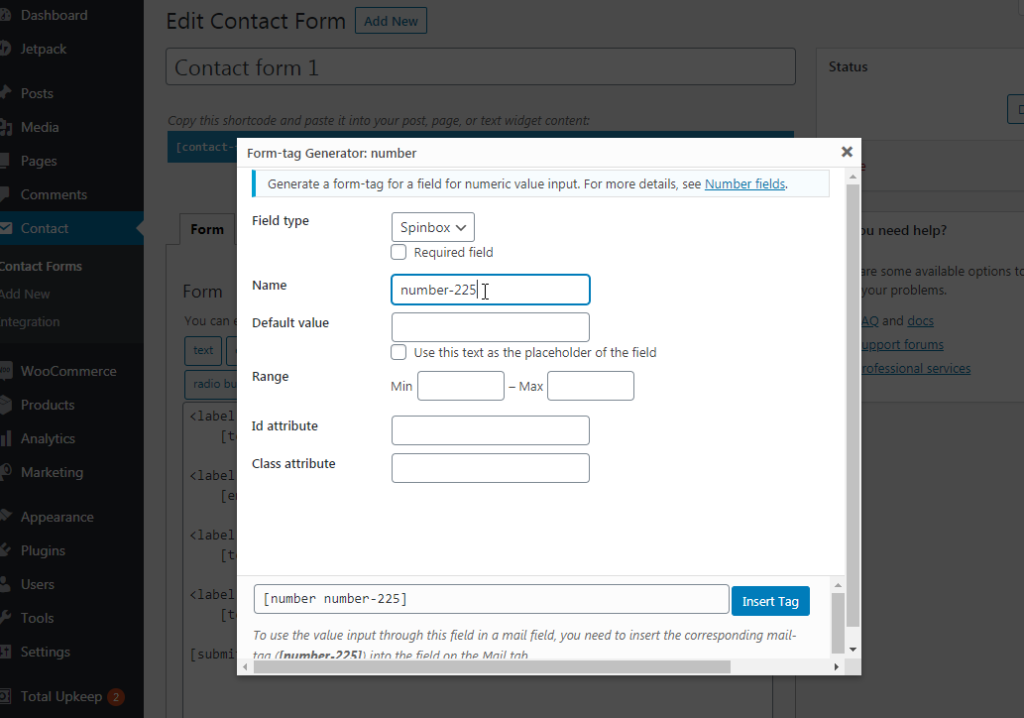 Adding a new field in Contact Form 7