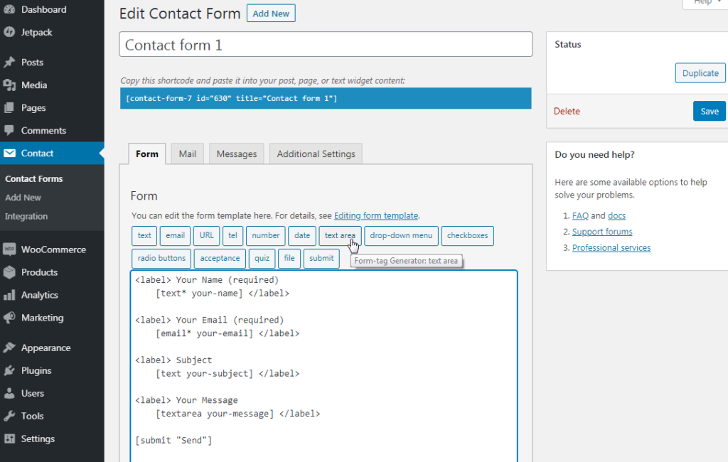 Editing the form in Contact Form 7