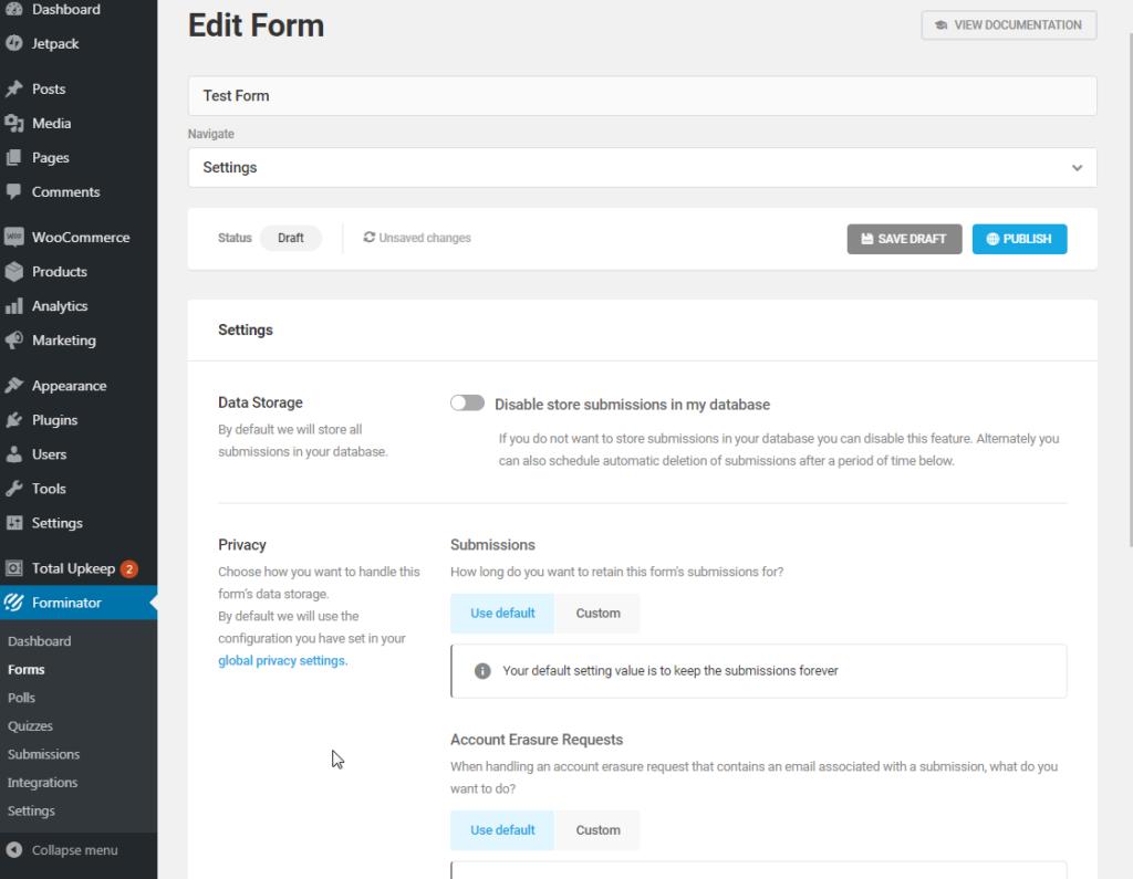 Forminator form settings