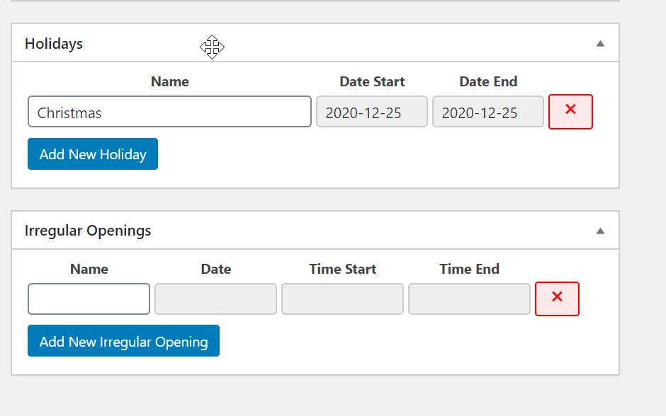 Adding holiday and irregular hours