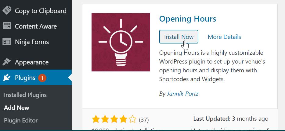 downloading opening hours plugin