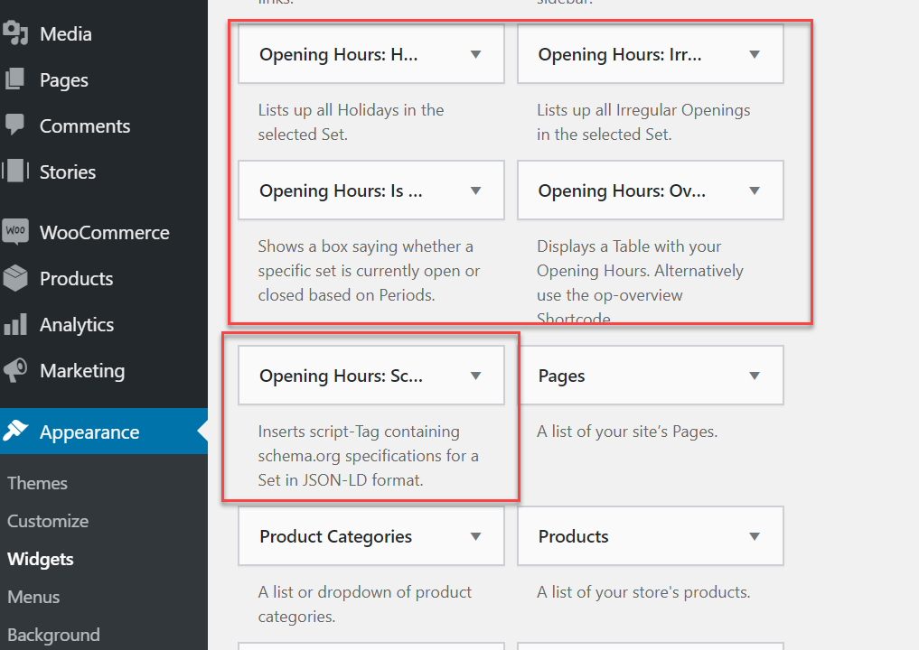 Using opening hours widgets to add business hours to site