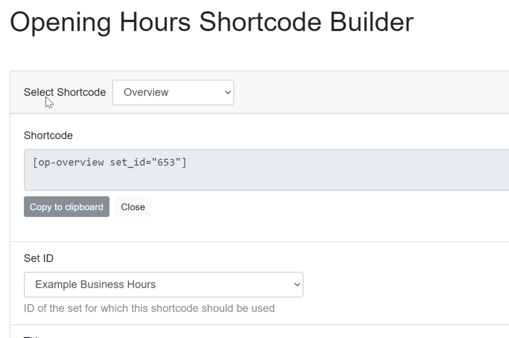 Saving shortcode for business hours