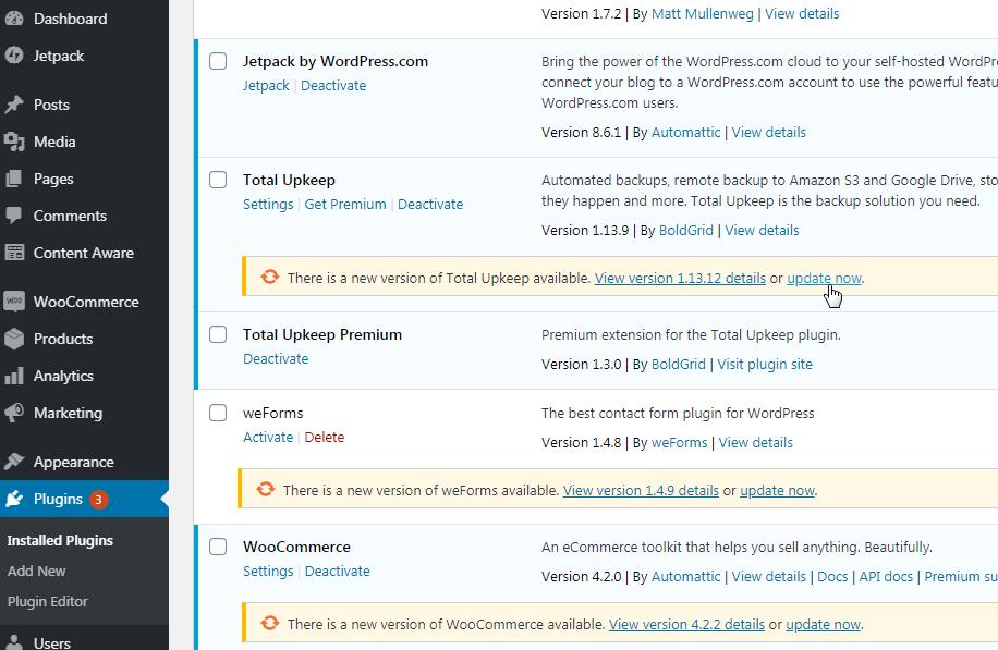 Update separate plugins from plugin area in wordpress dashboard