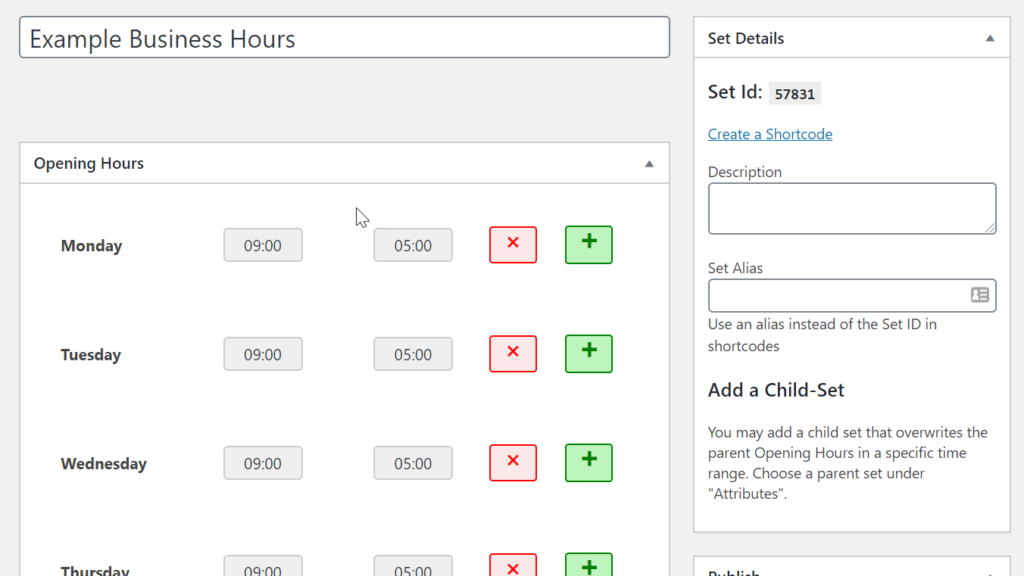 Adding business hours in opening hours plugin