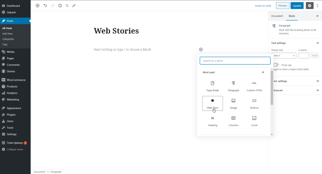 Adding Web Stories block to WordPress post
