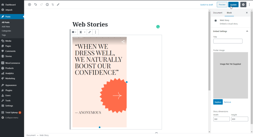 Published web story shows in post editor screen