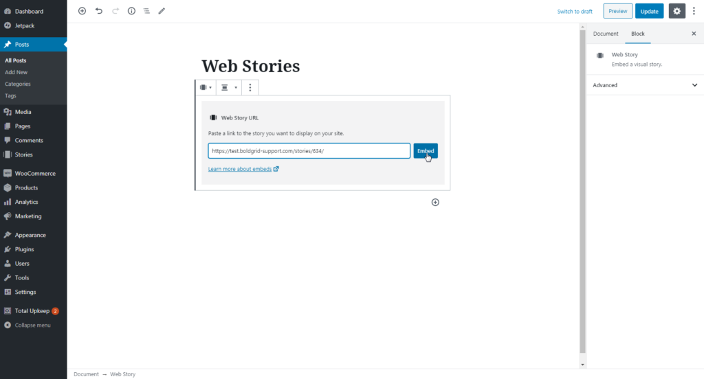 Adding link for published story to Web Stories block