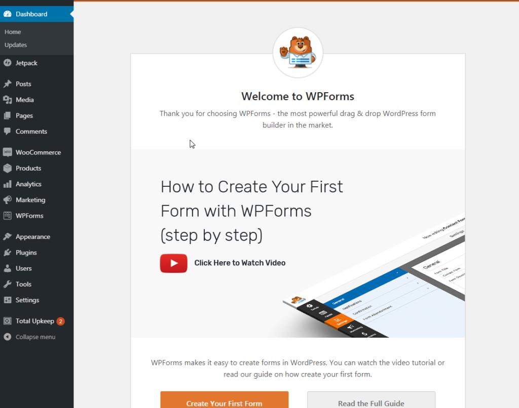 WPForms welcome screen