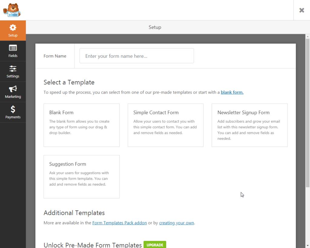 Create a new form in WPFormsCreate a new form in WPForms