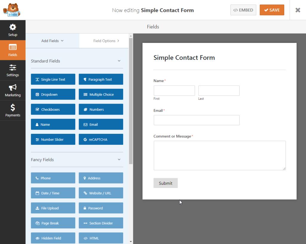 Edit form in WPForms