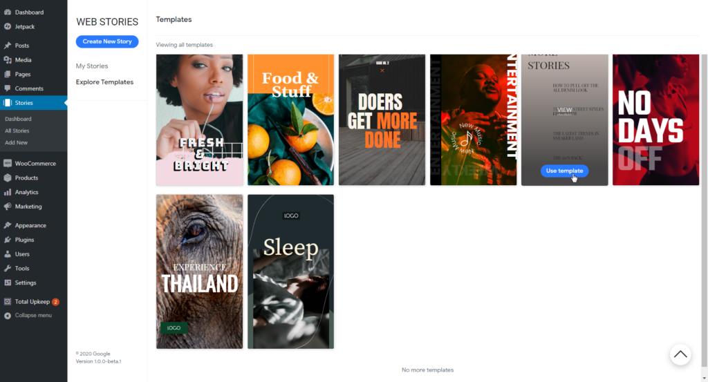 Google Web Stories Templates