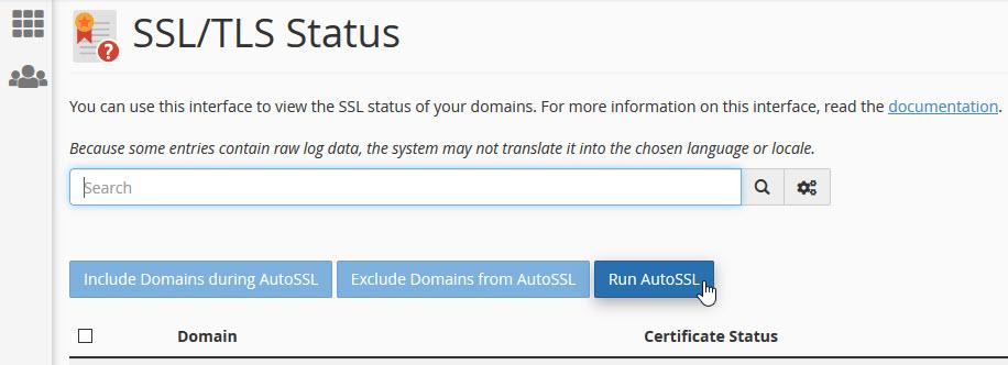 cPanel SSL status