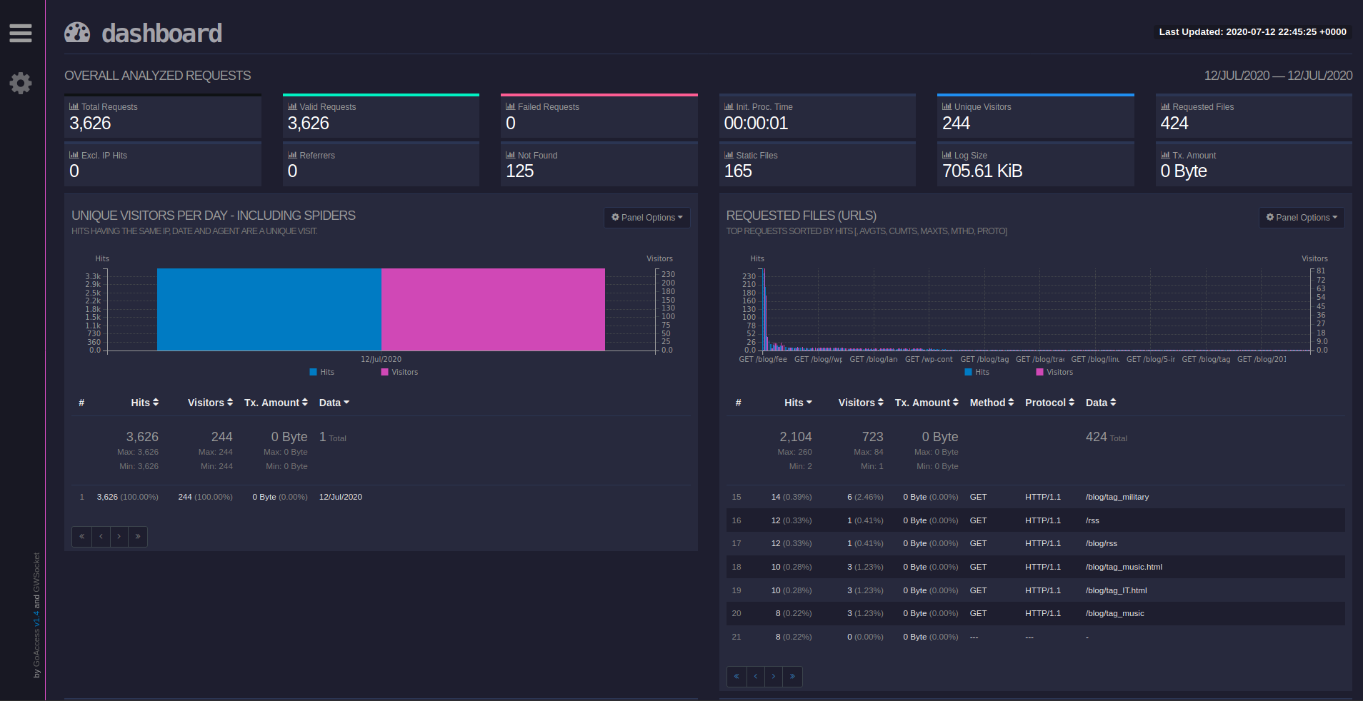 GoAccess Dashboard Visitors and Requests panels