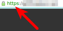 Browser with green lock indicating HTTPS in use