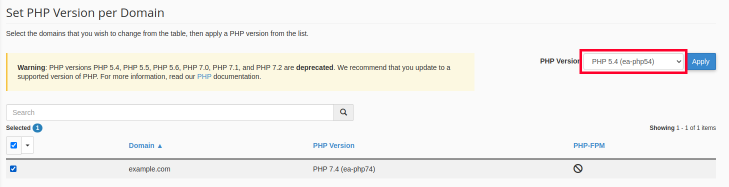 Choosing PHP Version