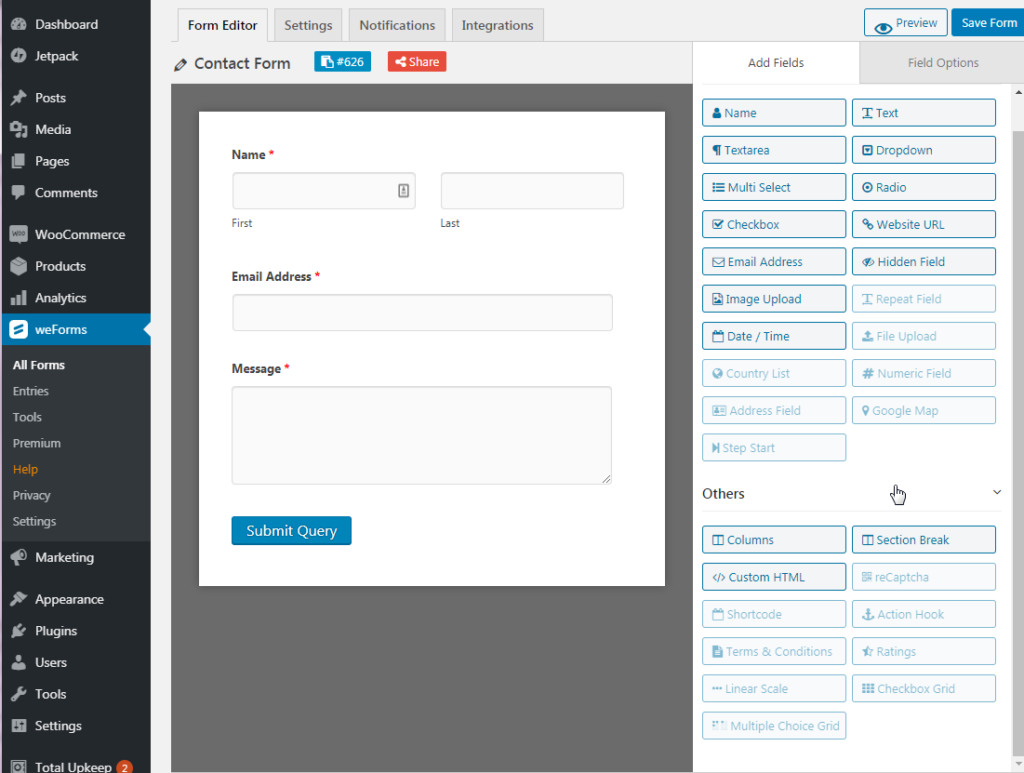 Create form with weForms