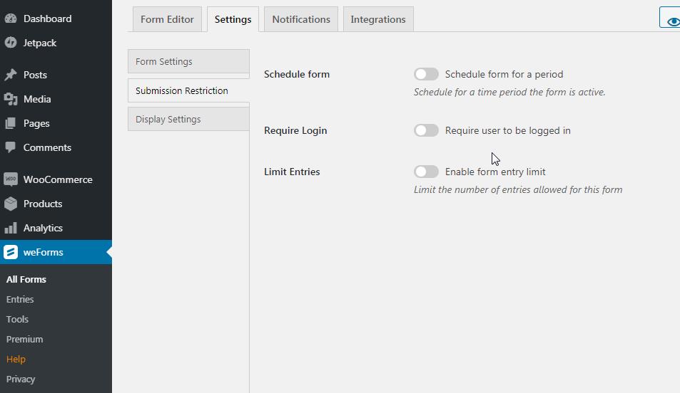 weForms settings