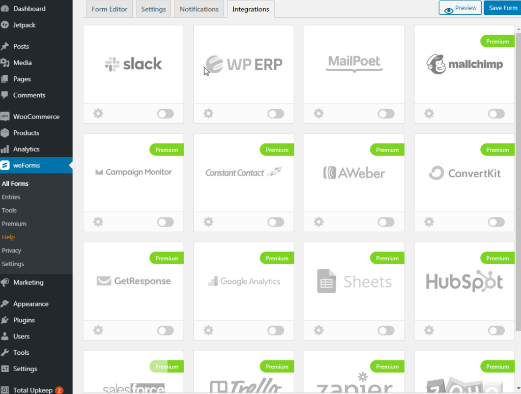 weForms integrations