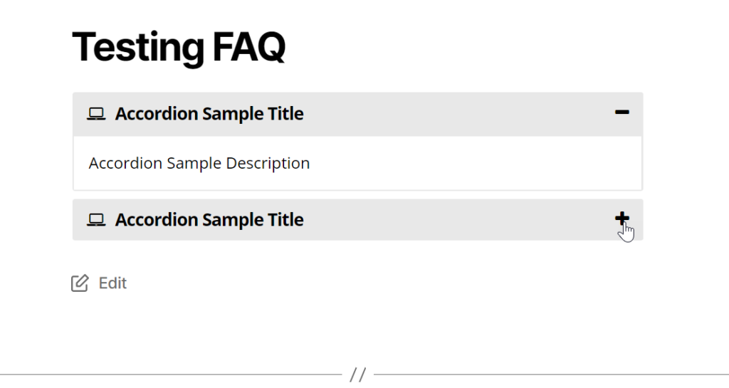 Example of accordion FAQ plugin