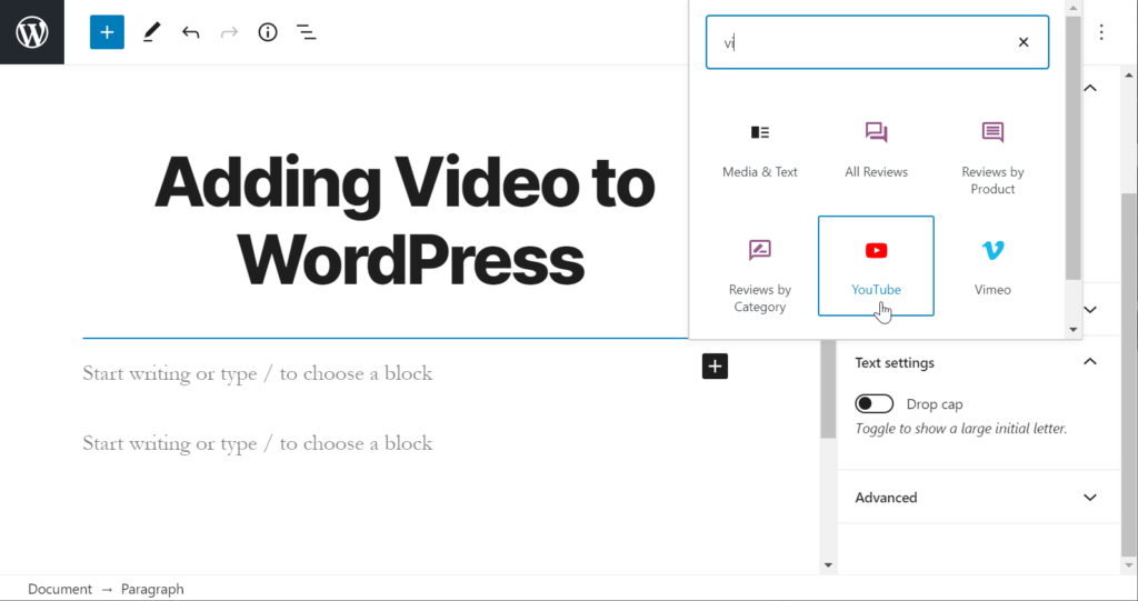 Add YouTube block in WordPress