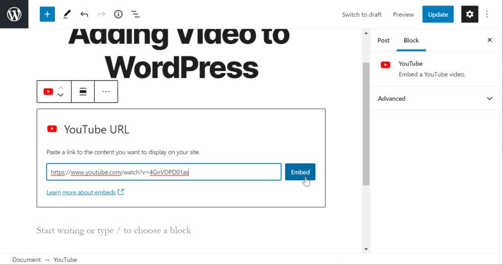 Add YouTube URL in WordPress