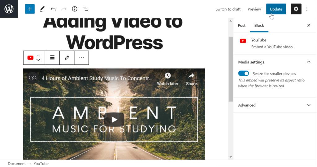 YouTube video embedded in WordPress