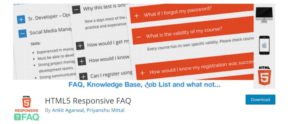 HTML5 FAQ plugin